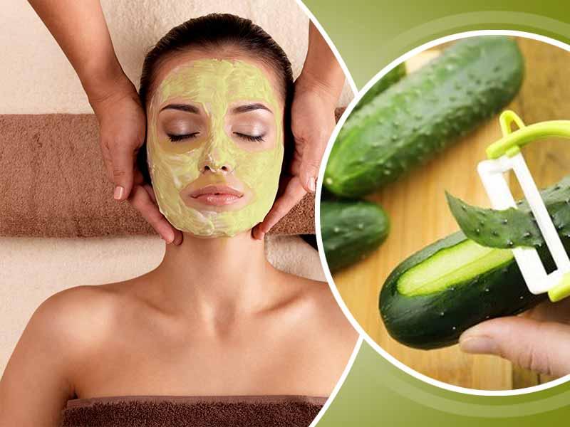 зелёная огуречная маска на лице у девушки