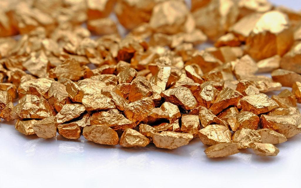 золото в виде маленьких самородков