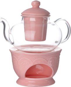 стеклянный чайник с фарфоровой подставкой