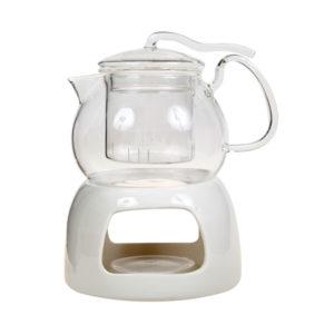 стеклянный чайник с керамической подставкой