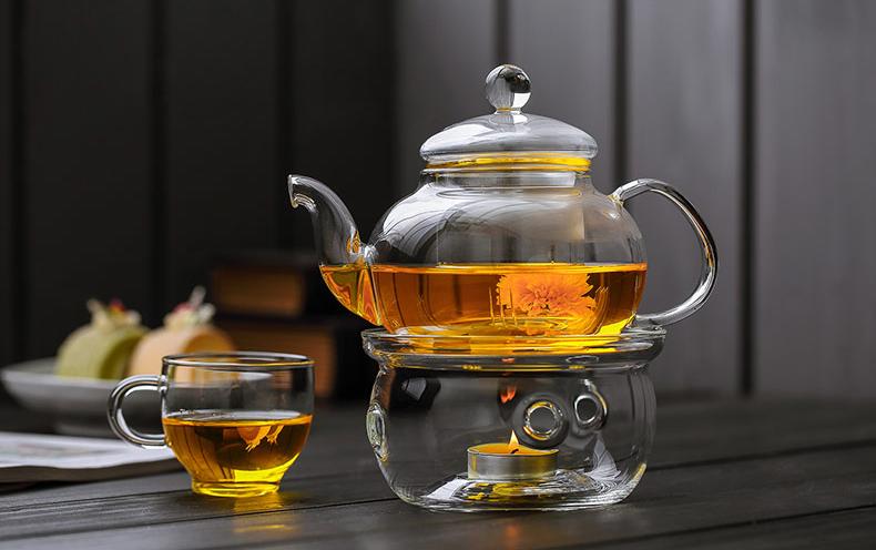 стеклянный чайник с подогревом от свечи