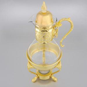 винтажный стеклянный чайник с подставкой под свечку