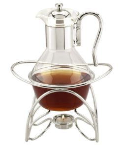 вытянутый стеклянный чайник с металлической подставкой под свечку